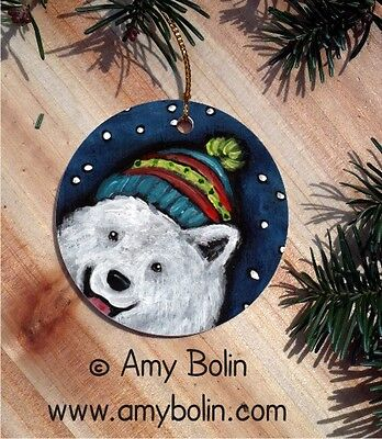 SAMOYED DOG CERAMIC ROUND Christmas ORNAMENT by Amy Bolin SNOWY WEATHER
