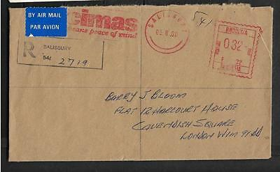 Rhodesia, 1980 Registered Cover To Uk, Slogan Cancel, And Rhodesia Postage Paid