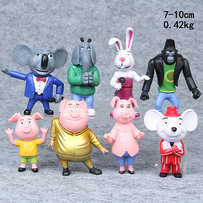 NEW SING Movie 8Pcs Set Toys Action Figure Collection Models Kids Birthday Gift