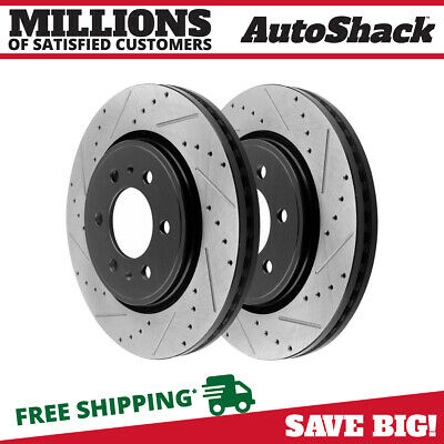 Front Pair 2 Drilled Slotted Brake Rotors 5 Stud Fits 97-2003 2004 Ford F-150