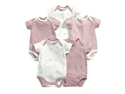 Mamas & Papas Cotton Baby 5 Pk Bodysuit Vest Pink White Star 3-6 Month Girl Gift