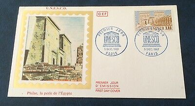 £££ France - enveloppe timbre FDC - 1987 -  Unesco Philae Egypte