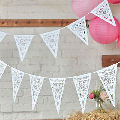 BOHO Die Cute FLORAL BUNTING White Banner Wedding Party Room DECORATION Garland