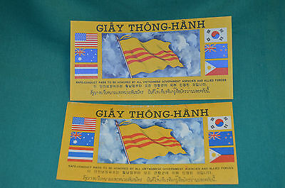 TWO of the SEVEN Flag Vietnam War Safe Conduct Passes. Quite nice Condition