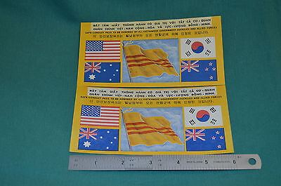TWO of the rare FIVE Flag Vietnam War Safe Conduct Passes. Very nice Condition