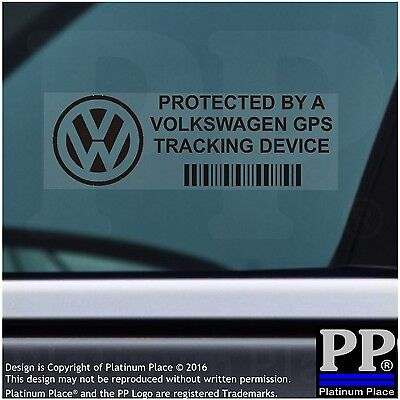 5 x Volkswagen GPS Tracking Device Security Stickers-BLACK-Car Alarm Tracker VW