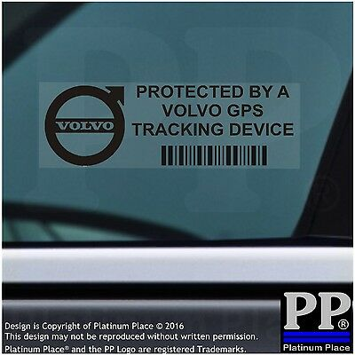 5 x Volvo GPS Tracking Device Security BLACK Stickers--Car Alarm Tracker,Sign