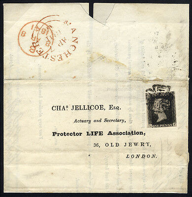 1840 Penny Black (Plate 9 LF) on 1841 cover from Manchester to London . . .