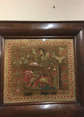 Good Large Feathered Mahogany Frame Sampler 1845 Carlot  Bohom