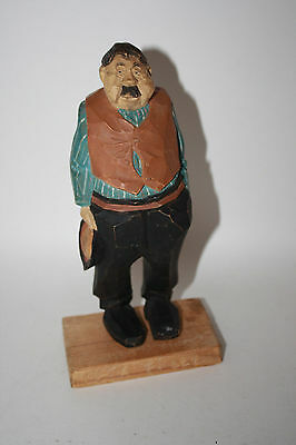 Wood Figure Portly Man Moustache Holding Hat Hand Carved