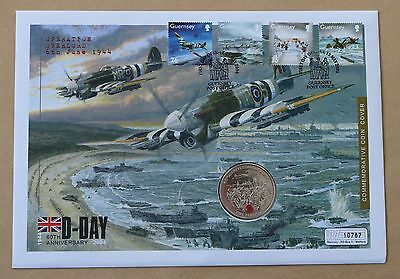 D-Day 60Th Anniversary 2004 Guernsey Fdc + Guernsey 2004 £5 D-Day Red Poppy Coin