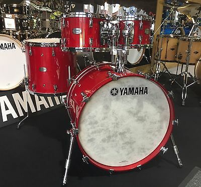 Yamaha Absolute Hybrid Maple 4pc Drum Kit Shell Pack, Red Autumn