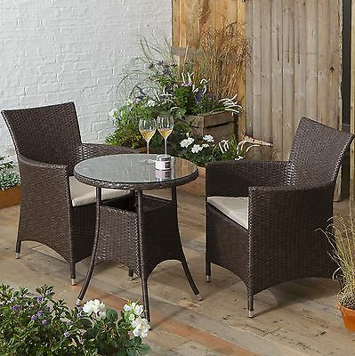 NEW Steel Frame Synthetic Rattan Outdoor Garden Bistro Table & Chair Set - Brown