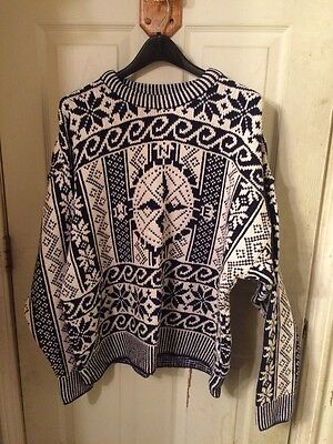 Vintage Structure Cotton Sweater Men's Size XL Compass Black White - MADE IN USA