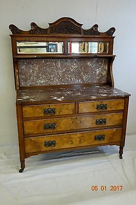 Beautiful antique victorian marbletop server sideboard buffet