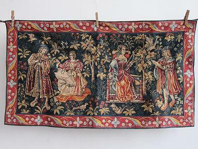 Stunning Large Aubusson Verdure Style Tapestry 4 Medieval Figures 990cm X 550cm