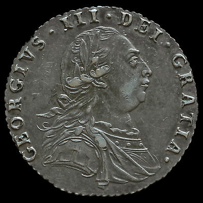 1787 George III Early Milled Silver Sixpence, No Hearts, GVF