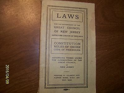 "Laws Governing TRIBES in  N J ""Improved Order of Red Men"" May, 1922, Booklet"