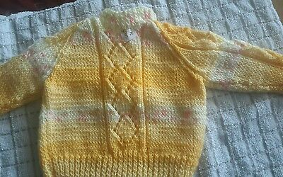 New Hand Knitted  Sweater Knit In Lemon Multi Coloured Dk Wool Size 3-6 Months