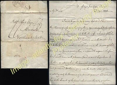 1804 GRAYS INN COFFEE HOUSE Letter  William Hay to Alnwick, fine breach of peace