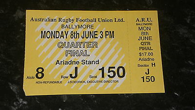Unused Ticket 1987 Rugby World Cup Quarter-Final - WALES v. ENGLAND