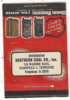 Southern Coal Co. Inc. Nashville TN Warm Morning Coal Heaters Matchcover
