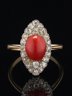ART DECO  NATURAL 1.25 Ct RED CORAL AND 2.26 Ct DIAMOND NAVETTE RING