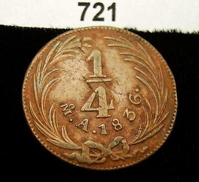 MEXICO 1836 MoA 1/4 REAL - NICE COIN!! BUY-IT-NOW!! #721