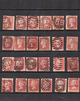 Great Britain Queen Victoria 1d Reds Stamps Most With London Postmarks  V14