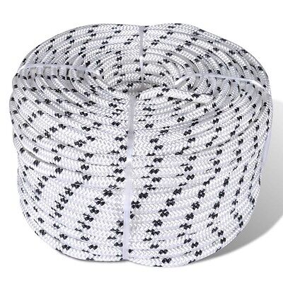 50m Long 8mm Thick Polyester Poly Braided Rope Coil Boat Dock Line Cord