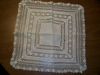 Antique Lace & L:inen Handkerchief with Four Rows of Lace