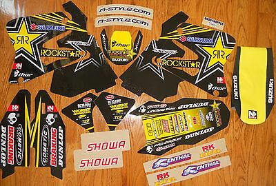 N-STYLE ROCKSTAR SUZUKI RM125 RM250 TEAM GRAPHICS KIT with SEAT COVER (01-08)
