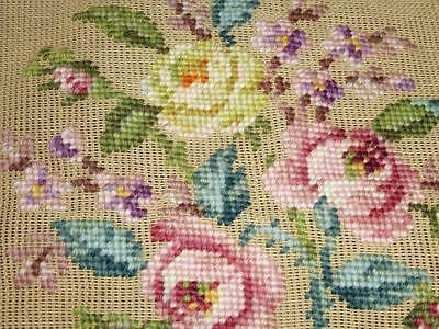 Vintage Preworked PARAGON NEEDLEPOINT CANVAS Tapestry Pink Cottage Roses No 1926