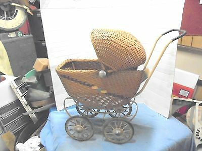"""vintage brown wicker baby buggy metal spoked wheels 27"""" tall child's toy"""