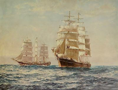 """ Exchanging  The Mail "" by John Allcot , Sailing Ships."