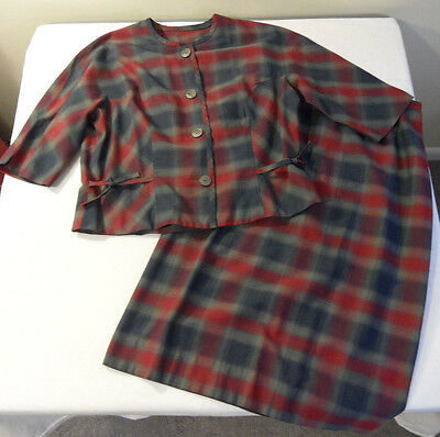 Vintage Gaylene's 2 Piece Lightweight Plaid Suit Jacket or TOP & Skirt Set