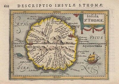 1616 Lovely Bertius Map of Sao Tome, Africa
