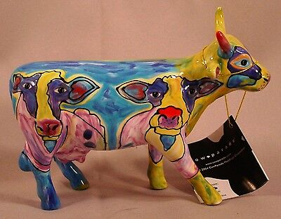 Cow Parade #7333 The Many Faces of Moo Multi Color Cow Retired Box & Tag 2004