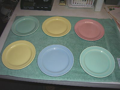 Lot of 6 VINTAGE LU-RAY T.S.& T PASTEL dessert bread PLATES 6.25""