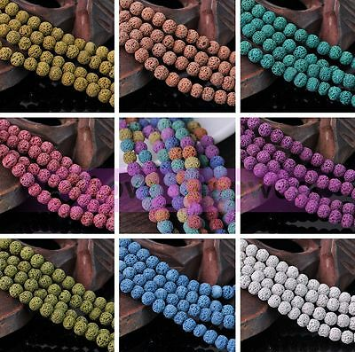 New 25/50pcs 8mm Natural Volcanic Lava Rock Gemstone Round Loose Spacer Beads