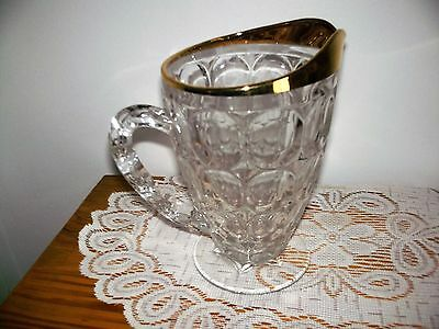 Jeanette Thumb Print Glass Juice Water Pitcher Gold Trim