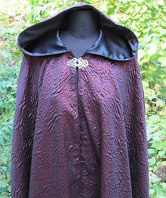 Black/Red Hooded Adult Cloak Medieval Cape Renaissance Garb Theater Custom Made