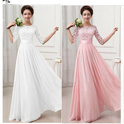 Long Chiffon Lace Evening Formal Party Ball Gown Prom Women Bridesmaid Dress