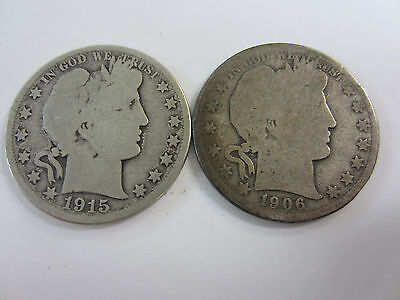 1915 -D- and 1906 -D- Barber Half Dollar 90% Silver