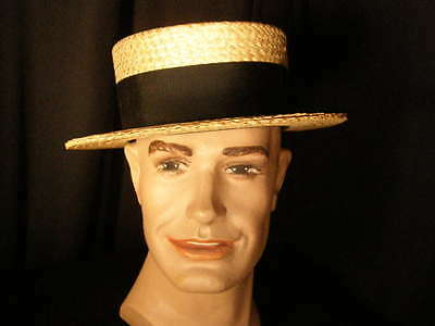 ~Vintage '40s~'50s man's Stetson straw boater~LONG OVAL~SZ 7 1/8~