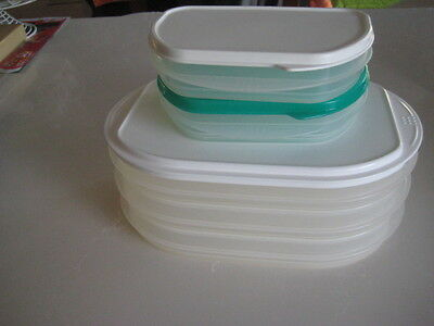 TUPPERWARE SET OF 5 FRIDGE STACKABLES.-3 large + 2 small with lids NEVER USED