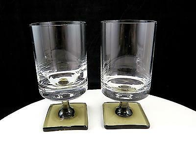 "Rosenthal Linear Smoke George Jensen 2 Pc Square Base 4 7/8"" Red Wines 1963-82"
