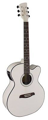 Brunswick BTK50 White Electro Acoustic Guitar. Superb Electrics With Tuner !!!