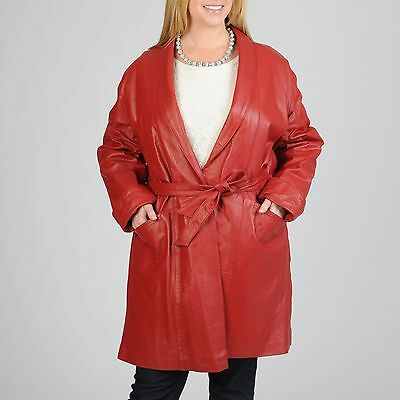 Excelled Women's Plus Size Lambskin Leather Belted Wrap