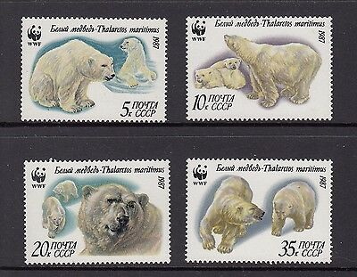 Russia 1987 WWF Polar Bears Mint unhinged set 4 stamps.